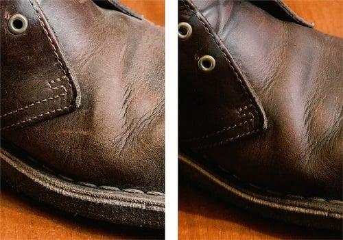 Botas de piel antes y después de limpiarlas