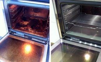 como limpiar horno sucio