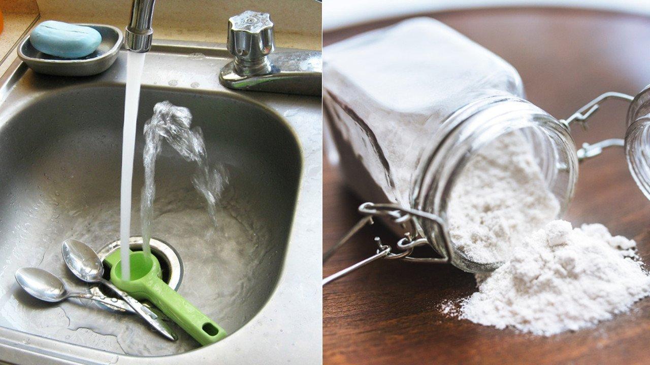 limpiar el fregadero con harina