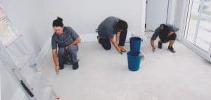 empresa de limpieza después del trabajo
