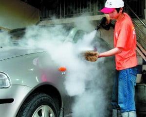 Limpieza de vagones a vapor